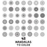Reeks van met de hand gemaakt mandalapatroon stock illustratie