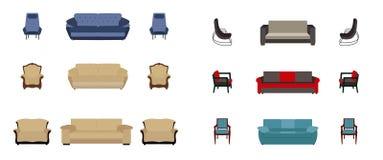 Reeks van meubilair Moderne vlakke stijl vectorillustratie Stock Foto's