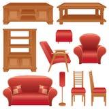 Reeks van meubilair voor een woonkamer Stock Afbeeldingen