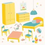 Reeks van meubilair voor kinderenruimte Jonge geitjes klein meubilair Bed, lijst met kinderen` s stoelen, garderobe en borsthand Royalty-vrije Stock Afbeelding