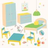 Reeks van meubilair voor kinderenruimte Jonge geitjes klein meubilair voor weinig jongen Bed, lijst met stoelen, garderobe en bor Stock Foto's