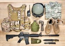 Reeks van militaire uitrusting van de 21ste eeuw Stock Afbeeldingen