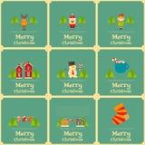 Reeks van Mini Christmas Cards Stock Afbeeldingen