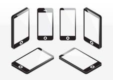 Reeks van mobiele telefoon onechte omhoog isometrische vectorillustratie Stock Afbeelding