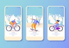 Reeks van mobiele toepassingpagina, het scherm op gezond levensstijlthema dat wordt geplaatst Actieve mensensporten vector illustratie