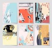 Reeks van modern abstract digitaal eigentijds het schilderen 6 A4 formaat Stock Illustratie