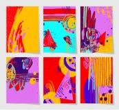 Reeks van modern abstract digitaal eigentijds het schilderen 6 A4 formaat Vector Illustratie