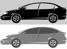 Reeks van modern autosilhouet Stock Afbeeldingen