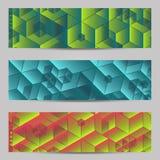 Reeks van modern de kopballenmalplaatje van ontwerpbanners met abstract kubuspatroon Royalty-vrije Stock Fotografie