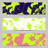 Reeks van modern de kopballenmalplaatje van ontwerpbanners met abstract kubuspatroon Royalty-vrije Stock Afbeeldingen