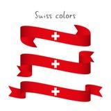 Reeks van modern gekleurd vectorlint drie met de Zwitserse kleuren Royalty-vrije Stock Afbeeldingen