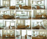 Reeks van modern woonkamer Binnenlands ontwerp Stock Foto's