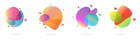 Reeks van moderne abstracte vloeibare vorm van verschillende kleuren Vloeibaar ontwerp royalty-vrije illustratie