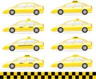 Reeks van moderne geïsoleerdec taxi Royalty-vrije Stock Afbeeldingen