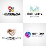 Reeks van moderne kleurrijke abstracte creatieve Webgastheer Stock Foto