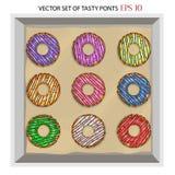 Reeks van moderne vlakke stijl sappige kleurrijke die vector donuts op witte achtergrond wordt geïsoleerd royalty-vrije stock foto