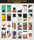 Reeks van 24 modieus adreskaartjeontwerp voor de voedselindustrie Royalty-vrije Stock Afbeeldingen