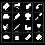 Reeks van Mok, Koekje, Pastei, Zuivelfabriek, Theepot, Roomijs, Broodrooster, Rad vector illustratie
