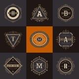 Reeks van monogramembleem Royalty-vrije Stock Foto's