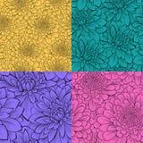 Reeks van mooi naadloos patroon met bloemen Royalty-vrije Stock Afbeelding