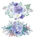 Reeks van 2 Mooie hand geschilderde boeketten van de waterverfpioen vector illustratie