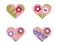 Reeks van 4 mooie harten Stock Afbeeldingen