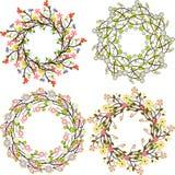 Reeks van multicolored bloemenboeket, gescheiden bloemen decoratief Royalty-vrije Stock Foto