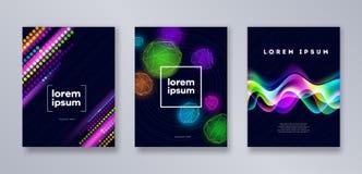 Reeks van multicolored modern dekkingsmalplaatje Universeel abstract ontwerp voor dekking, vliegers, banners, Stock Illustratie