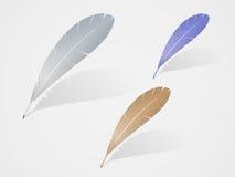 Reeks van multicolored ontwerp van het verenpictogram Stock Foto's