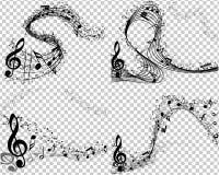 Reeks van 4 Muzikale Achtergronden Stock Afbeeldingen