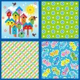 De lente en de zomer naadloze patronen of achtergronden Royalty-vrije Stock Afbeeldingen