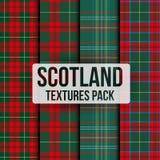 Reeks van naadloos de textuurpatroon van de geruit Schots wollen stofstof Royalty-vrije Stock Afbeelding