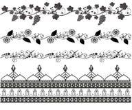 Reeks van naadloos patroon Mehndi stock illustratie