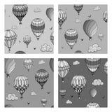 Reeks van naadloos patroon met ballons in zwart-wit kleuren Vele verschillend gekleurde gestreepte luchtballons die in vliegen stock illustratie