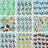 Reeks van naadloos patroon 9 met grappige landbouwbedrijfdieren Royalty-vrije Stock Foto's