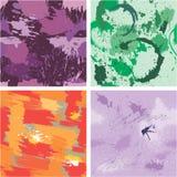 Reeks van naadloos patroon met vlekken en inktplonsen Abstracte bedelaars Stock Foto