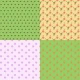 Reeks van naadloos patroon vier met kleine tekening. Royalty-vrije Stock Afbeelding