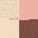 Reeks van naadloos patroon vier met snoepjes Stock Afbeelding
