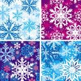 Reeks van naadloos sneeuwvlokkenpatroon Stock Fotografie