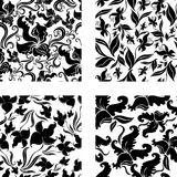 Reeks van Naadloos uitstekend patroon met orchideeën stock illustratie