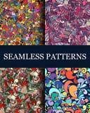 Reeks van 4 naadloze abstracte patronen Royalty-vrije Stock Fotografie