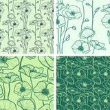 Reeks van 4 naadloze bloemenachtergronden Royalty-vrije Stock Fotografie