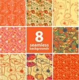 Reeks van 8 naadloze bloemenachtergronden Royalty-vrije Stock Afbeelding