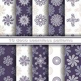 Reeks van 10 Naadloze Decoratieve Bloemenpatronen Royalty-vrije Stock Afbeelding