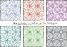 Reeks van 6 naadloze kleurrijke artistieke patronen Royalty-vrije Stock Afbeelding