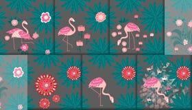 Reeks van 6 naadloze patronen Flamingo en een Tropische bos Textielsamenstelling stock illustratie