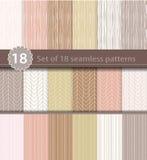 Reeks van 18 naadloze patronen, hout, het ontwerp van de lijnkunst Royalty-vrije Stock Foto's