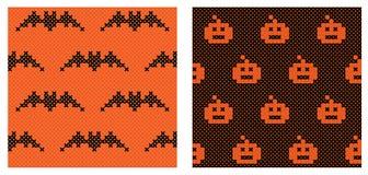Reeks van 2 naadloze patronen van Halloween Royalty-vrije Stock Afbeeldingen