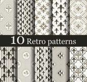 Reeks van 10 naadloze retro patronen Royalty-vrije Stock Afbeelding