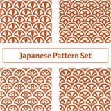 Reeks van naadloze textuur vier in de Japanse stijl Stock Foto